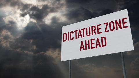 4K Dictature Zone Ahead Warning Sign under Clouds Timelapse Animation