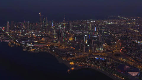 Kuwait, night panorama of the city (aerial view) Footage