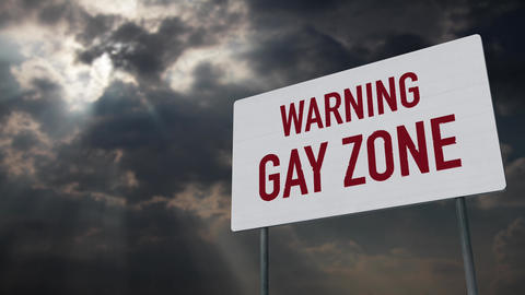 4K Gay Zone Warning Sign under Clouds Timelapse Animation