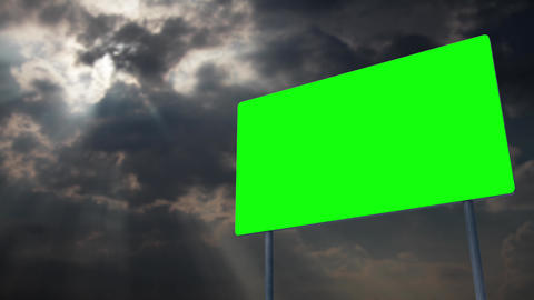 4K Green Screen Warning Pole Sign under Clouds Timelapse 1 Animation