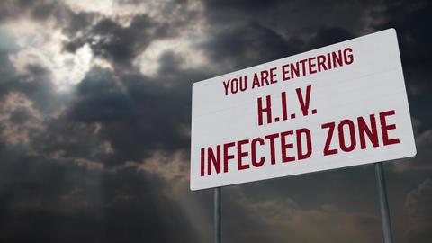 4K HIV Warning Sign under Clouds Timelapse Animation