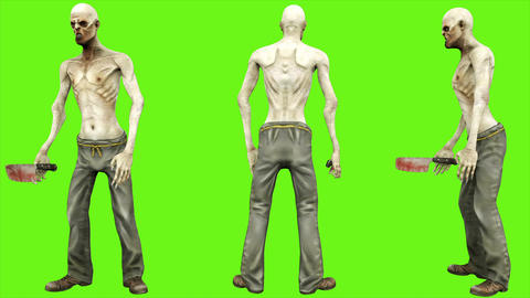 Zombie standing - seperated on green screen. Loopable. 4k Animation