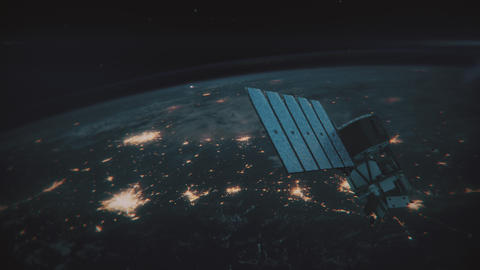 Incredible view of Satellite Orbiting the Earth Footage