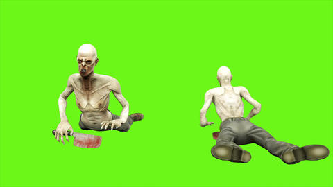 Zombie crawls - seperated on green screen. Loopable. 4k Animation