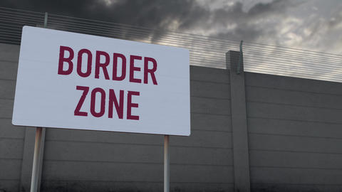 4K Massive Fence and Border Zone Sign under Clouds Timelapse 1 Animation