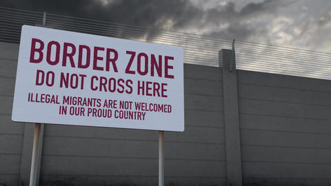 4K Massive Fence and Border Zone Sign under Clouds Timelapse 4 Animation