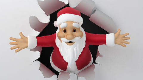 Santa tears the paper Animation