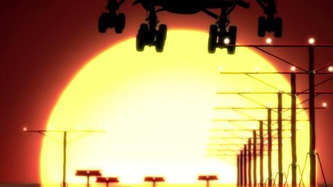 airplane landing at sunset Stock Video Footage
