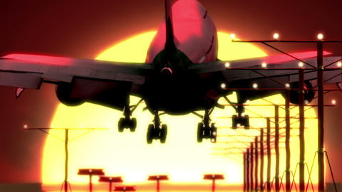 Airplane Landing At Sunset stock footage