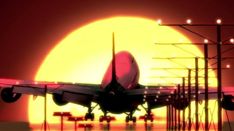 airplane landing at sunset Stock Video Footage