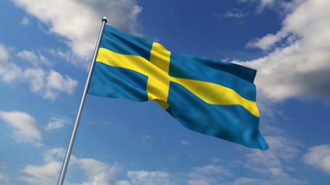 Swedish flag waving against time-lapse clouds background Stock Video Footage