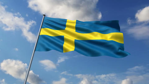 Swedish flag waving against time-lapse clouds background Animation