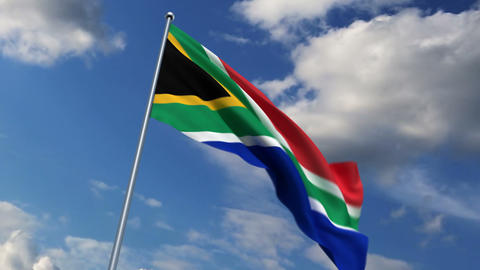 South African flag waving against time-lapse clouds... Stock Video Footage