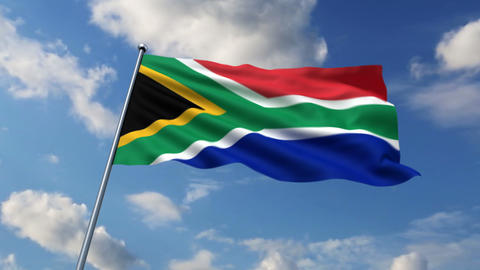 South African flag waving against time-lapse clouds background Animation