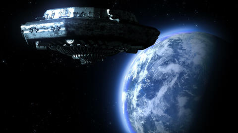 UFO flies to the Earth Stock Video Footage