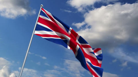 UBritish flag waving against time-lapse clouds background Stock Video Footage