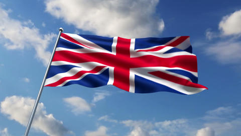 UBritish flag waving against time-lapse clouds background Animation