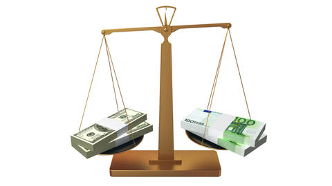 Money scales, dollar and euro Stock Video Footage