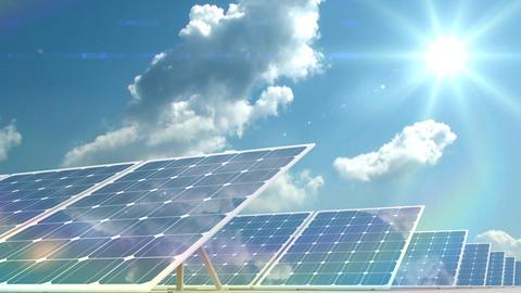 solar panels on time-lapsed sky background Animation