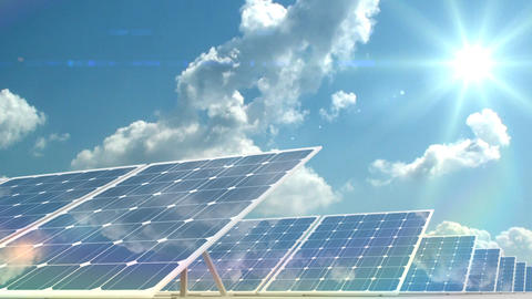 solar panels on time-lapsed sky background Stock Video Footage