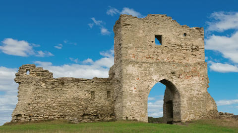 Ruined gates of cossack castle with blue sky and clouds Stock Video Footage