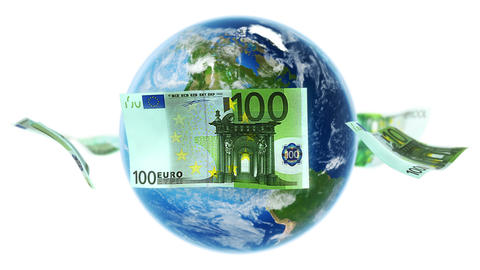EUR Banknotes Around Earth on White (Loop) Stock Video Footage
