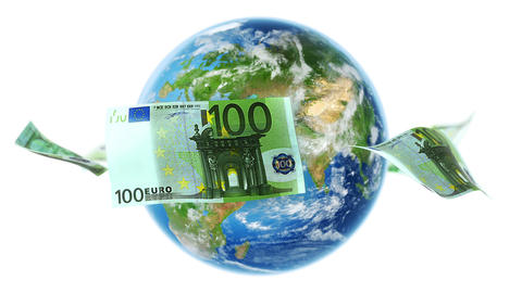 EUR Banknotes Around Earth on White (Loop) Animation
