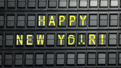 departure board happy new year Stock Video Footage