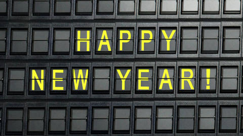 departure board happy new year Animation