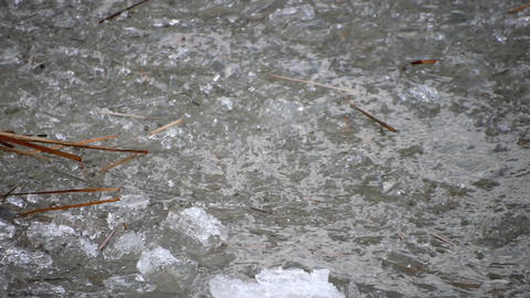 Drifting of Ice Cracked on River Waves Stock Video Footage