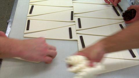 german bakery chocolate roll bun croissant conveyor belt... Stock Video Footage