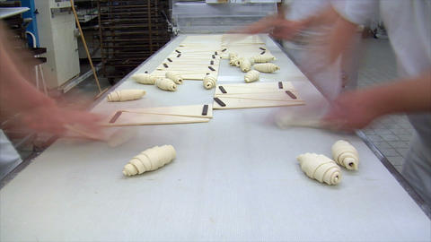 german bakery chocolate roll bun croissant time lapse 10815 Stock Video Footage