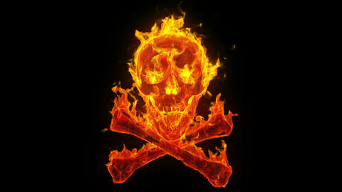 Burning skull and crossbones Stock Video Footage