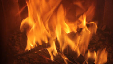 Wood Burning Fireplace stock footage