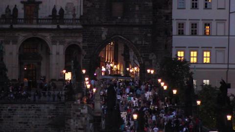 Prague Bridge 4 Stock Video Footage