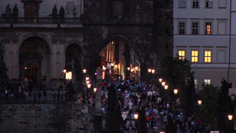 Prague Bridge 4 Stock Video Footage