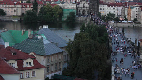 Prague Bridge 2 Stock Video Footage