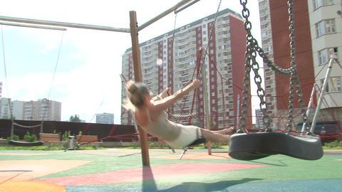 girl swing Stock Video Footage