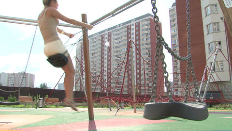 girl swing Stock Video Footage