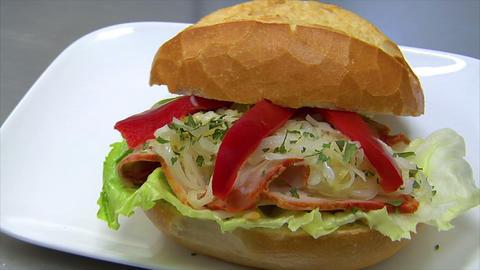 german bakery roll bun ham coleslaw sandwich dolly 10830 Stock Video Footage