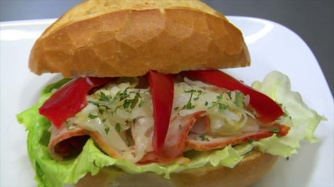 German Bakery Roll Bun Ham Coleslaw Sandwich Dolly 10830 stock footage