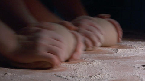 two german baker kneading bread side spot slow motion 10832 Footage