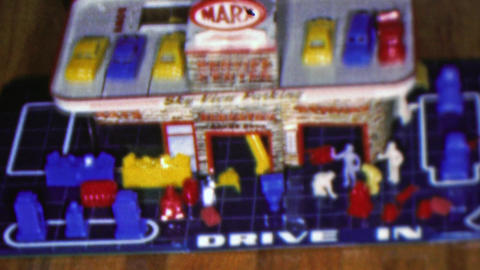 1964: Service center kids toy plastic game model imagination play Footage