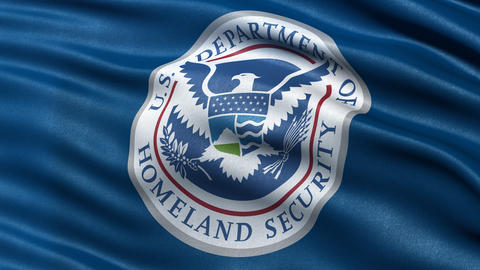 4K USA Homeland Security flag waving in the wind Animation