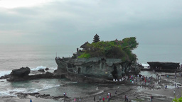 Tanah Lot Temple at low tide,Bali Footage