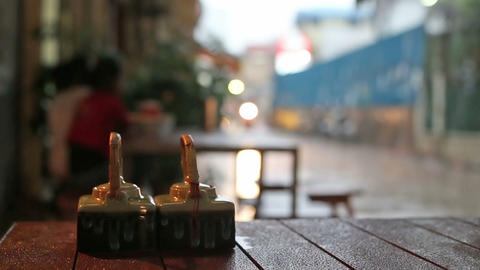 Rainy Day Street View From Outdoor Restaurant In Phnom Penh, Cambodia stock footage