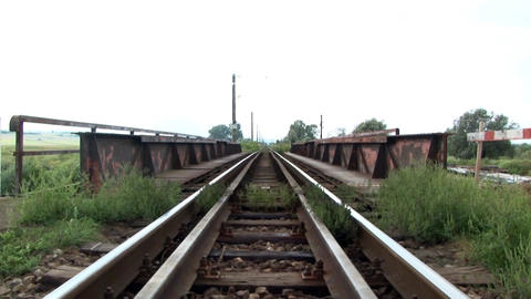 Freight train approaching the video camera located on railroad tracks 6 Footage