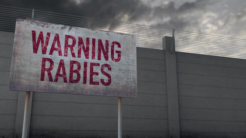 4K Rabies Warning and Strong Fence under Clouds Timelapse Animation