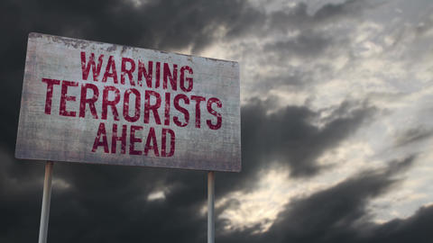 4K Terrorists Ahead Warning Rusty Sign under Clouds Timelapse Animation