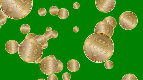 Gold bitcoin coin digital currency technology on Greenscreen loop animation in CG動画素材